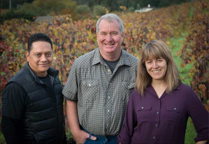 Winemaking Team: Polo Cano, Lance Blakeley, Montse Reese