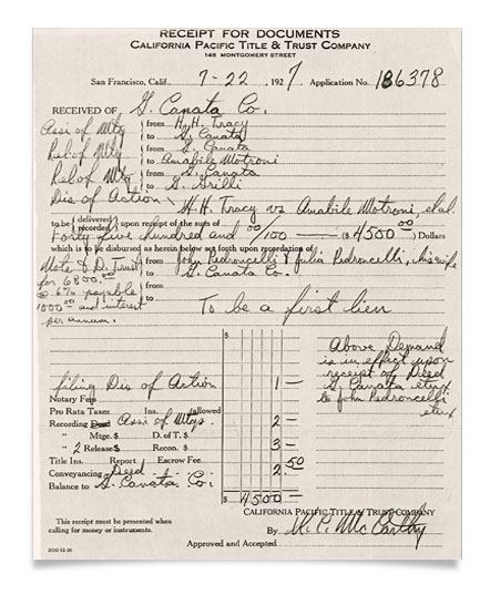 Winery Receipt July 22 1927
