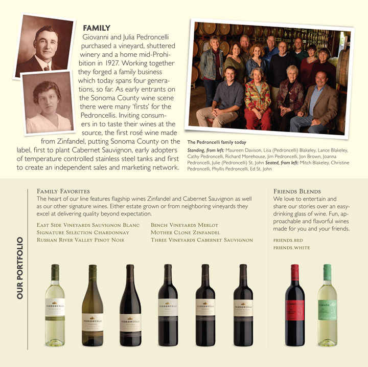 Pedroncelli Winery Brochure Family Section