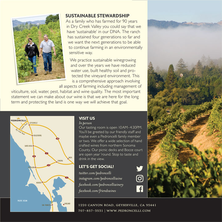 Pedroncelli Brochure Sustainable Stewardship section