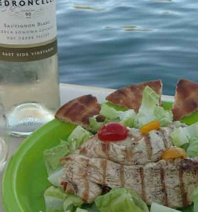 Sauvignon Blanc and chicken salad